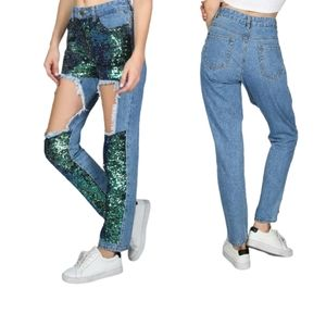 Blue Cut Out Frayed Sequin Front Mermaid Jeans
